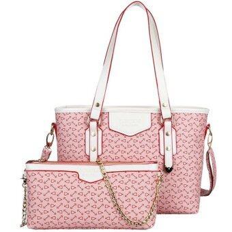 RichCoco กระเป๋าแฟชั่นเกาหลี + กระเป๋าสะพายข้าง เซ็ต 2 ใบ(สีชมพู)