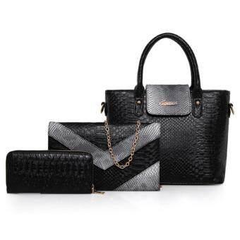 RichCoco (33) กระเป๋าแฟชั่นเกาหลี เซ็ต 3 ใบ (สีดำ)