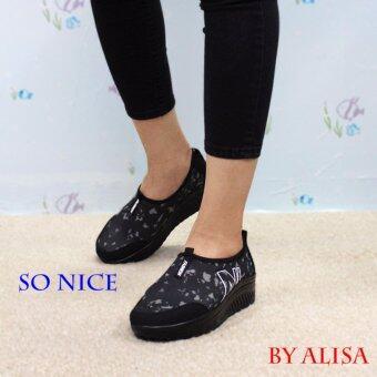 ALISA Shoes รองเท้าผ้าใบแฟชั่น Comfort รุ่น JJ704 Black