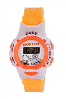 นาฬิกาข้อมืออิเล็กทรอนิกส์ดิจิตอลเด็กกีฬา-ส้ม