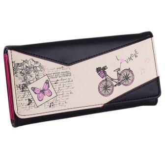 กระเป๋าสตางค์หนัง พิมพ์ลายจักรยาน แฟชั่นสำหรับผู้หญิง