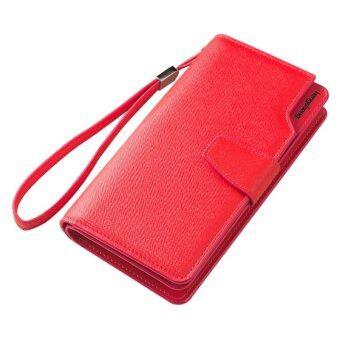 พวกหนัง Pu มีซิปใส่เหรียญกระเป๋าสตางค์กระเป๋าถือสตรีแฟชั่นสายรัดข้อมือ (สีแดง)