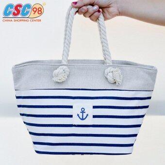 กระเป๋าถือสะพาย ผ้าดิบ แบบสายเชือก ลายทางรูปสมอเรือ สีน้ำเงินครีม