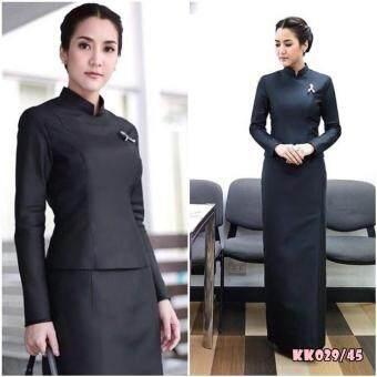 Dokpikul-ชุดไทยจิตรลดาแบบซิปหลัง จิตรดาสีดำ ราชปะแตนหญิง ไว้อาลัย สวยสง่าเรียบหรูเมื่อสวมใส่ - สีดำ