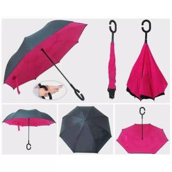 Reverse Umbrella ร่มหุบกลับด้านมือจับตัว C-สีบานเย็น