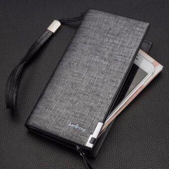 Baellerry กระเป๋าสตางค์ ผู้ชาย กระเป๋าเงิน กระเป๋าตัง บาง ทรงยาว Men Wallet Long Pattern PU Leather Wallet for Men - Black