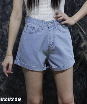 Platinum Fashion กางเกงยีนส์ขาสั้นเอวสูง ทรงสวย รุ่นU2U719
