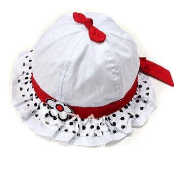 Passion Shop GZMM หมวกปีกเจ้าหญิง แฟชั่่นเกาหลี ติดดอกไม้ดอกเล็ก-สีขาว