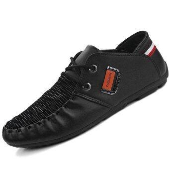 PINSV Synthethic รองเท้าหนังรองเท้าลำลองธุรกิจทางการทหาร (สีดำ)