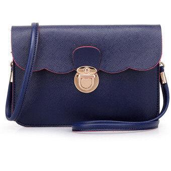 กระเป๋าสะพายสตรีกระเป๋าถือเครื่องหนังของคลัตช์ตายเงินกุ๊ยสารสีน้ำเงินเข้ม-ระหว่างประเทศ