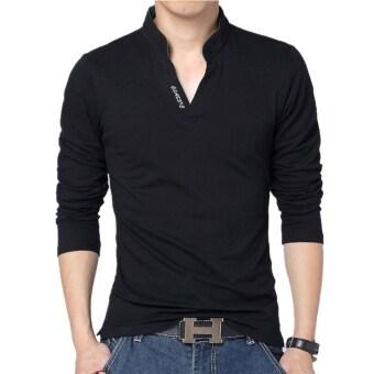 Huaway แฟชั่นชายแขนเสื้อสีทึบสวมเสื้อโปโลลำลองแบบอักษร (สีดำ)