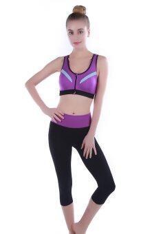 PBx-ชุดออกกำลังกาย โยคะ สปอร์ตบรา มีซิปสีม่วง+ กางเกง 5 ส่วน
