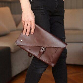 Osaka กระเป๋าคลัทช์ ผู้ชาย ผู้หญิง สไตล์ ย้อนยุค พร้อมสายคล้องแขน ถอดได้รุ่น NE220 - สีกาแฟ