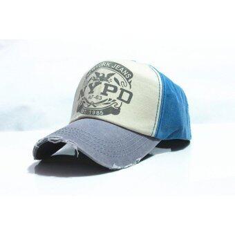 2559 ปรับได้ใส่หมวกตำรวจหมวกเบสบอลผ้าวินเทจ (สีน้ำเงิน)