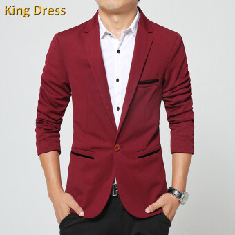 Harga Iron Free Man Suit Jacket Slim One Button Casual Men Blazer(Red)
