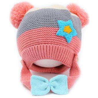 Passion Shop GZMM หมวกไหมพรมเด็กเกาหลี พร้อมสายรัดคาง ติดโบว์ สีชมพู