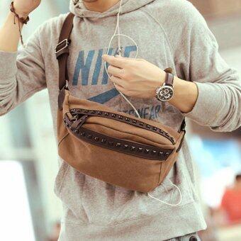 CV04-Brown กระเป๋าคาดอก กระเป๋าคาดเอว ผ้าแคนวาส สีน้ำตาล กระเป๋าผู้ชาย