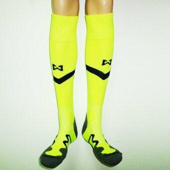 WARRIX SPORT ถุงเท้าฟุตบอลไนล่อนแอนตี้แบคทีเรีย สโมสรสุพรรณบุรี WC-SP52Z (สีเขียวสะท้อนแสง-กรมท่า)