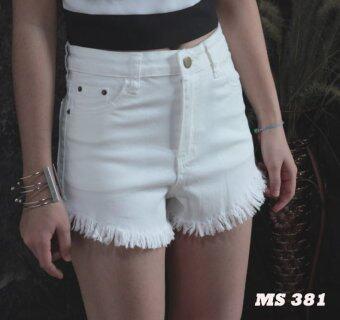Platinum Fashion กางเกงยีนส์ขาสั้นเอวสูง แต่งขาดลุ่ยๆปลาย รุ่นMS381