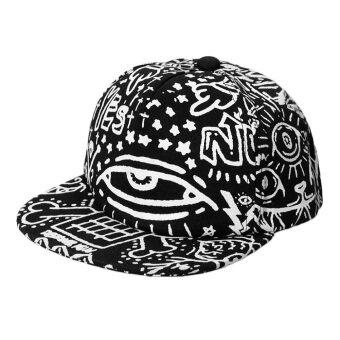 นิวแฟชั่นผู้ชายผู้หญิงวาดแสงตาหมวกหมวกเบสบอลหันแบนสะโพกป็อปหมวกแก๊ปสีดำ