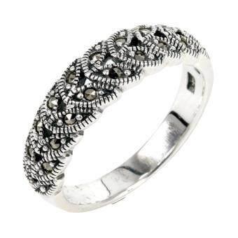 Trendy Diamond แหวนใบมะกอกเสริมดวงการงาน เงินแท้ประดับมาร์คาไซท์ - รุ่น MTR455