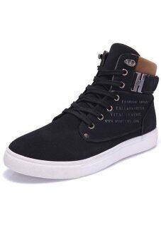 คนจรลาลังตัดสูงกีฬารองเท้าผ้าใบรองเท้าผ้าใบสีดำ