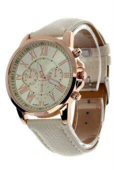 นิวแฟชั่นสตรีเลขโรมันคล้ายคลึงผลึกนาฬิกาข้อมือหนังเทียมสีเบจ