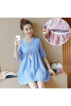 Harga Breastfeeding Mother Long Dress Round Collar Lace Dress (blue) - intl