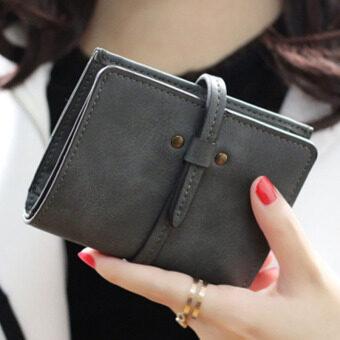 ลาวีมินิน่ารัก ๆ กระเป๋าสตางค์กระเป๋าถือกระเป๋าคลัตช์สั้นที่เก็บบัตรประชาชน (สีเทา)