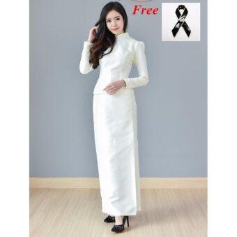 Dokpikul-ชุดผ้าไหมไทยบรมพิมาน ซิปหลัง ไหล่เรียบ ชุดงานบวช งานมงคล งานราชพิธี สีขาวมุก ขาวงาช้าง ผ้าไหมทอสองเส้น-สีขาวงาช้าง(Int:S)