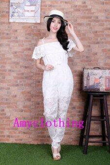 Amyclothing จั๊มสูทยาวผ้าลูกไม้ A013(สีขาว)