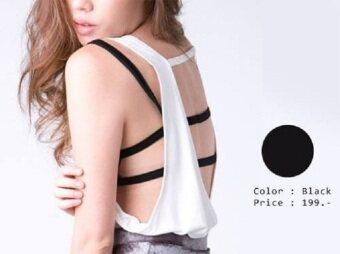 KGoogGig Sport bra เสื้อชั้นในโชว์ สายหลัง 2 เส้น สีดำ