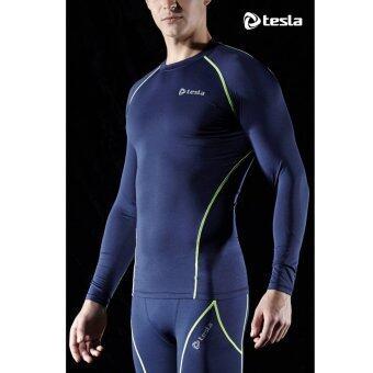 Tesla เสื้อเบสเลเยอร์รัดกล้ามเนื้อคอกลมแขนยาว สี Navy Blue