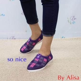 Alisa Shoes รองเท้าผ้าใบแฟชั่น รุ่น 99Q022 Purple