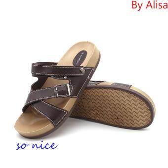 Alisa Shoes รองเท้าแตะแฟชั่นผู้ชาย รุ่น AL1829 Brown