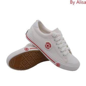 Alisa Shoes รองเท้าผ้าใบแฟชั่นผู้หญิง รุ่น 9108 White Red