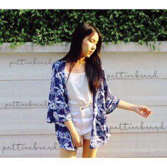 เสื้อคลุมสตรี ลายดอกชบา สีน้ำเงิน