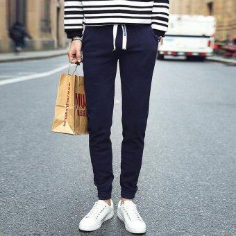 กางเกงแฟชั่นบุรุษจ็อกกิงกลางแจ้งขนาดปกติขนาดกางเกงกางเกงเกาหลีขาแข็งขวางกรมท่า
