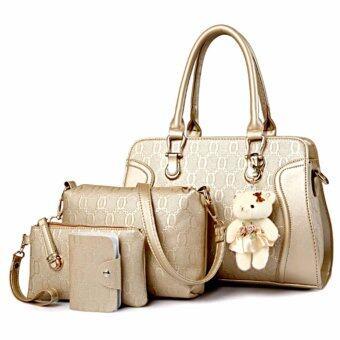 Bag กระเป๋าสะพายข้างสภาพสตรี เซ็ด 4 ใบ รุ่น new fashion 2017 (สีทอง)