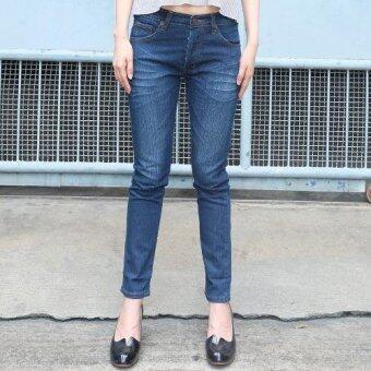 Golden Zebra Jeans กางเกงยีนส์หญิิงลายหนวด สีฟ้าขาเดฟ