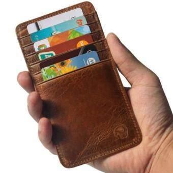 Matteo กระเป๋าเงินหนังแท้ กระเป๋าสตางค์แบบบาง กระเป๋าใส่บัตรเครดิต Elephant - Brown