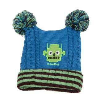 Passion Shop GZMM หมวกไหมพรมเด็กเกาหลี ลายหุ่นยนต์ สีฟ้า
