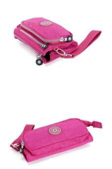 Korea กระเป๋าถือ กระเป๋าสตางค์-ใส่บัตร-ใส่มือถือผ้ากันน้ำ รุ่น B099-5 (สีแดงกุหลาบ)