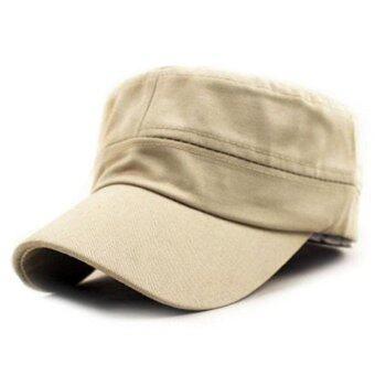 คลาสสิกสไตล์วินเทจกองทัพทหารราบนักเรียนหมวกผ้าหมวกปรับได้สีเบจ