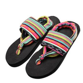 Gracefulvara หญิงชายโบฮีเมีย Flip Flops ฤดูปลูกยางแบนพื้นรองเท้ารองเท้าแตะรองเท้าหนัง