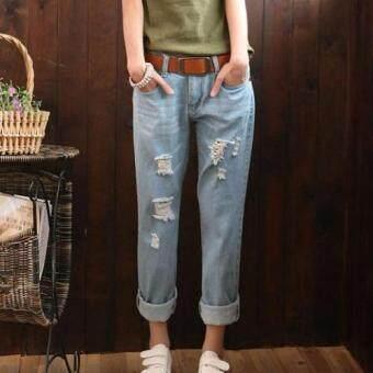 Dolly กางเกงยีนส์ขายาว แต่งรอยขาด แนวเซอร์ (สีฟ้า ยีนส์ซีด) รุ่น908