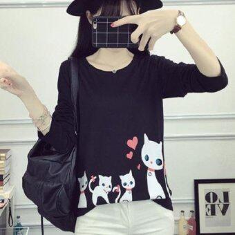 Dolly เสื้อยืดแฟชั่น เสื้อแขนยาวคอกลม กันหนาว ลายแมว (สีดำ) รุ่นLW4302