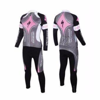 ชุดขี่จักรยานแขนยาวขายาว ผู้หญิง Specialized (เทา/ชมพู)(L)