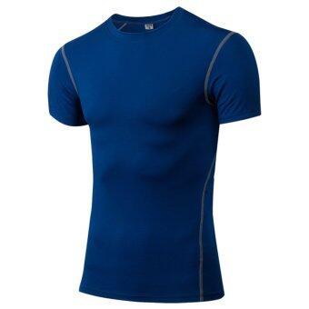 เสื้อกีฬาแขนสั้นสุขาห้องออกกำลังกายการออกกำลังกายแบบถังน้ำเสื้อรัดด้วยเสื้อสีน้ำเงิน