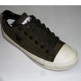 Mashare รองเท้าผ้าใบแฟชั้น มาแชร์ติดดาว ผูกเชือก M-55 สีทหารดำ
